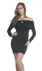 Tease - Off the shoulder long sleeve mini dress by Forplay