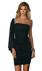 Andria - Sexy dress with flowy sleeve and sequin shoulder by Forplay