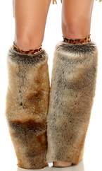 Furry Legwarmers with Leopard Band by Forplay