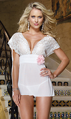 Babydoll with Flower Trim and Flyaway Back by Dreamgirl