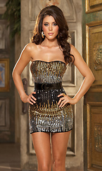 Ombre Sequin Strapless Dress with Patent Vinyl Belt by Dreamgirl