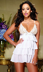 Chiffon Tiered Babydoll Bridal Set with Lace Cups by Dreamgirl