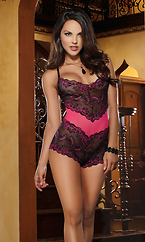 Stretch Lace Galloon and Mesh Romper Teddy Lingerie by Dreamgirl