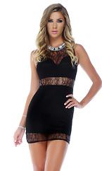 Lace Illusion Mini Dress