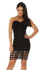 Caged Hem Sweetheart Dress