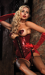 Sequin underbust corset,with front busk closure