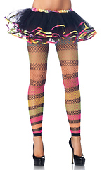 Rainbow striped fishnet footless tights