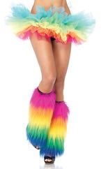 Furry rainbow leg warmers