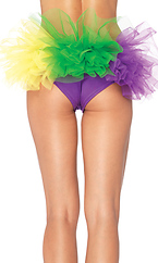 Mardi Gras spandex tanga panty with tulle ruffle back