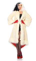 Cruella Coat,Features Satin Lined Fur Coat With Tail Shawl Collar